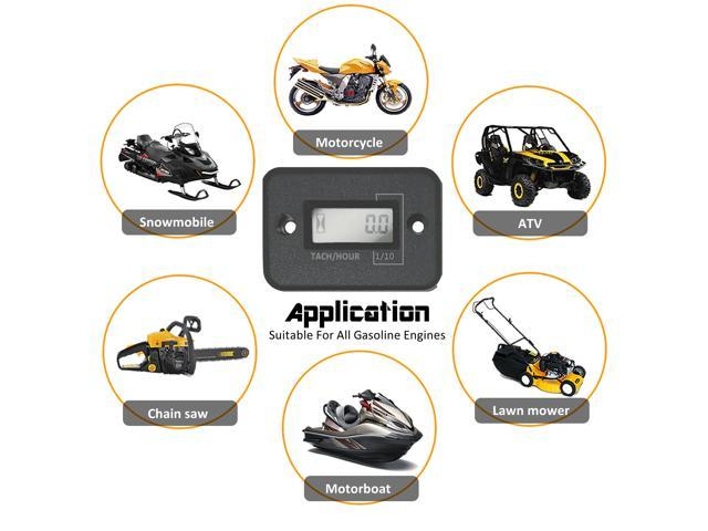 Motorcycle 4 stroke Gas Engine Hour Meter Portable Digital Tachometer Engine electronic digital cumulative timer photo