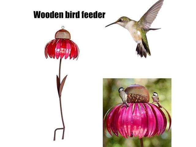 Metal Flower Shaped Bird Feeder Bottle with Stand Outdoor Garden Decoration Sensation Pink Coneflower Bird Feeder Container (Home & Garden Household Supplies) photo