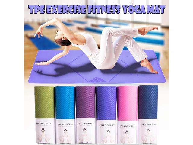 Exercise Yoga Pilates Mat Pads Gym Fitness Non Slip Fitness Tasteless Mat + Bag - violet (Sporting Goods Exercise & Fitness) photo