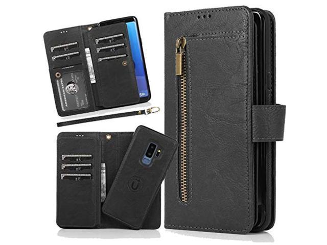 Harsel 9 Card Slots Magnetic Closure Detachable Removable Leather Wallet Purse Case With Zipper Pocket Book Style Folio Flip Cover Protective Case. photo