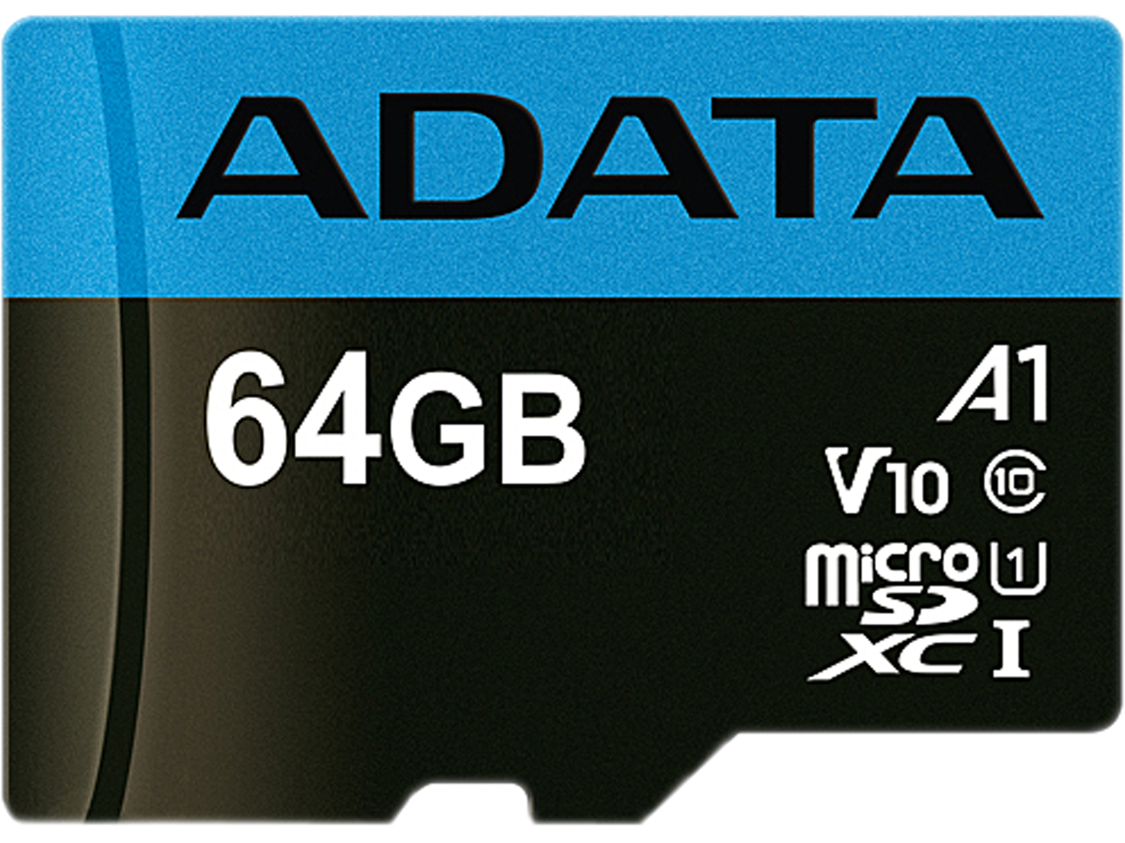 ADATA 64GB Premier microSDXC A1 Memory Card with SD Adapter AUSDX64GUICL10A1-RA1