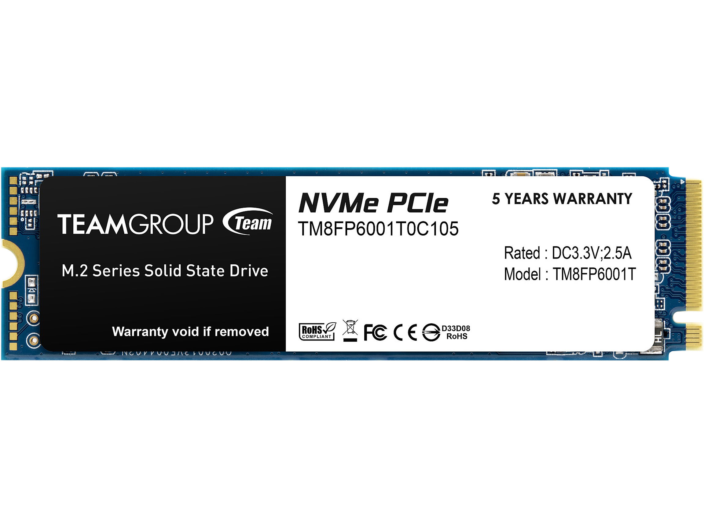 Team Group MP33 M.2 2280 1TB PCIe 3.0 x4 NVMe 3D NAND Internal Solid State Drive (SSD) TM8FP6001T0C101