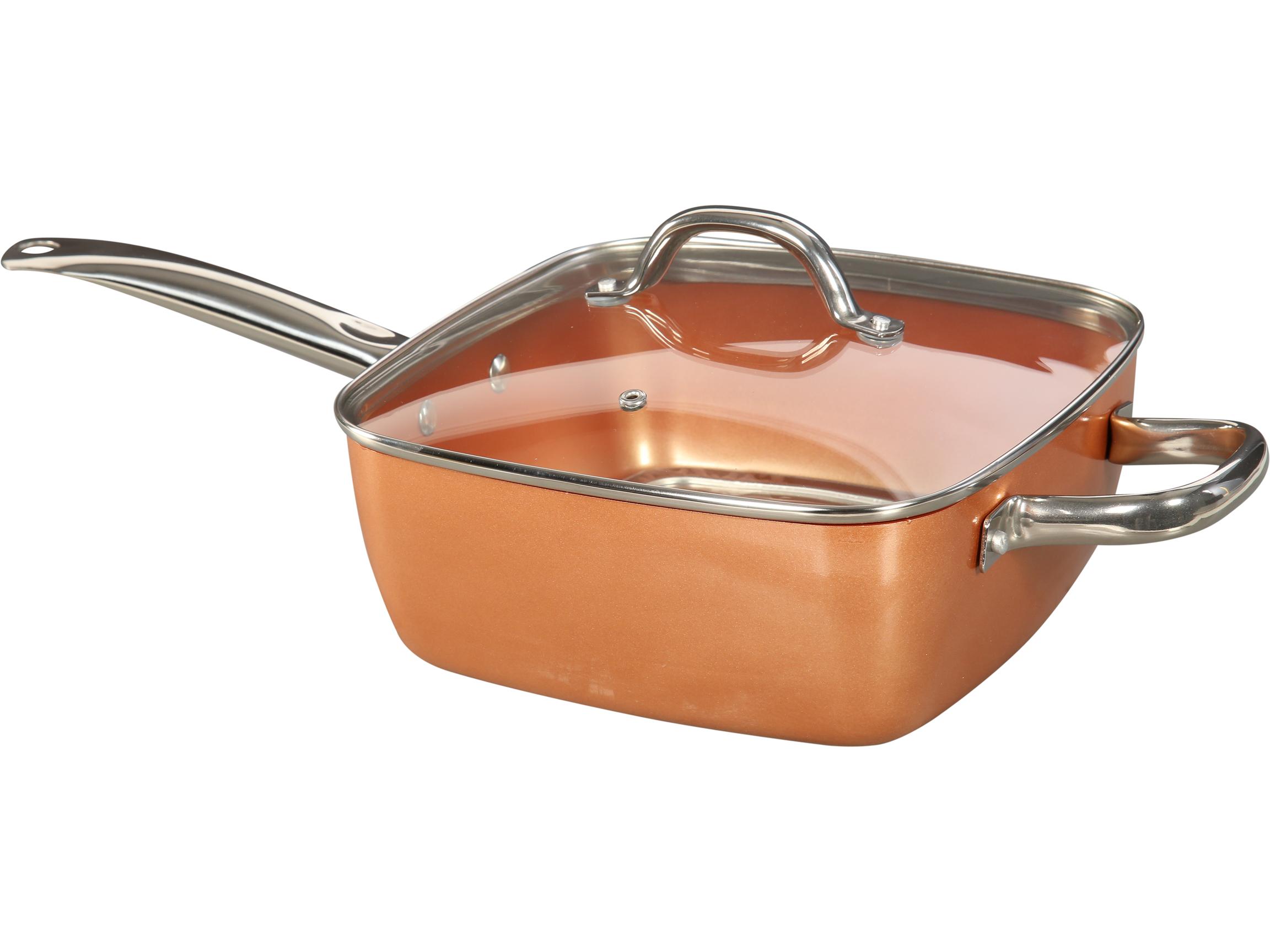 Tayama TCSP-10 Induction Square Pan, Medium, Copper