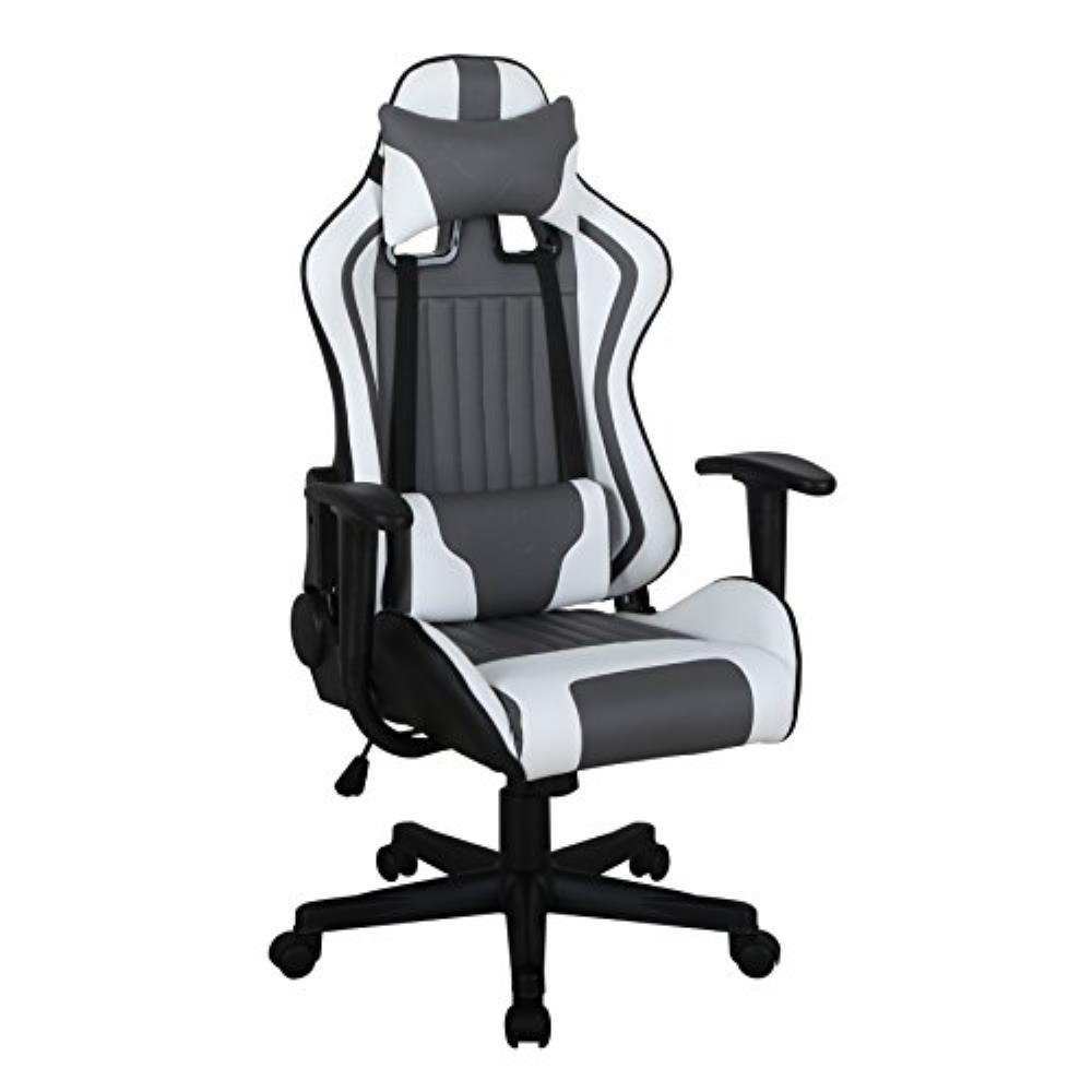 ViscoLogic Formula Racing Gaming Chair, Height Adjustable Swivel (Black/White/Grey)
