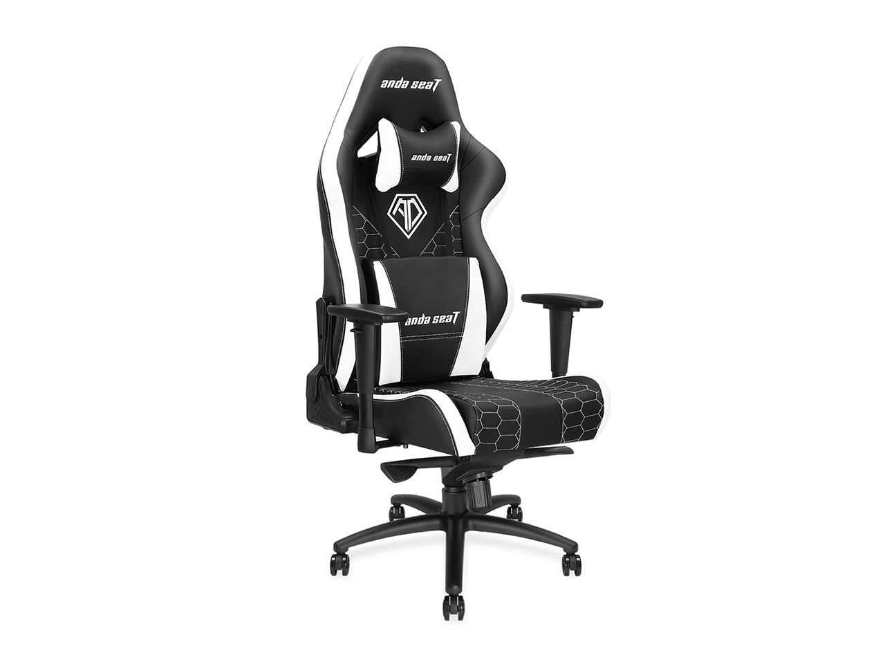 Anda Seat Spirit King Series High-Back Ergonomic eSports/Office Computer Chair with Adjustable Headrest & Lumbar Support (Black/White) AD4XL-05-BW-PV