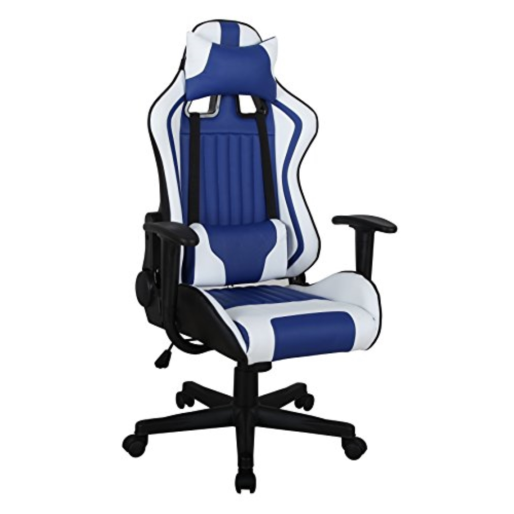 ViscoLogic Formula Racing Gaming Chair, Height Adjustable Swivel (Blue/White)