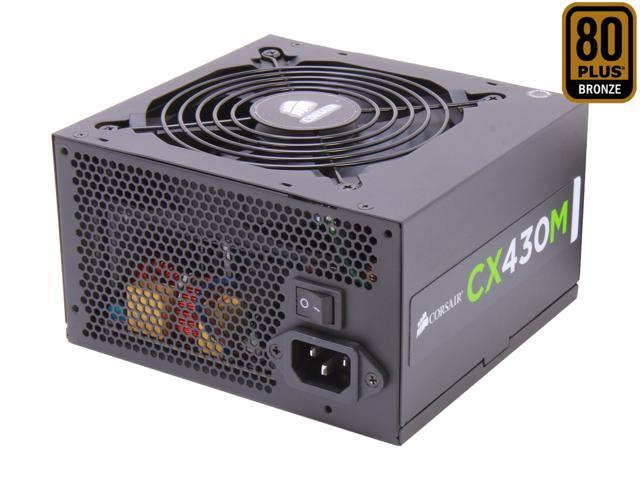 CORSAIR CXM series CX430M 430W ATX12V v2.3 80 PLUS BRONZE Certified Modular Active PFC Power Supply