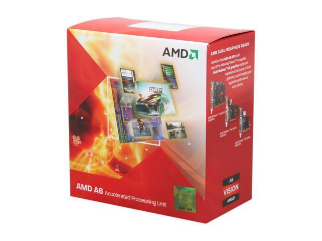 AMD A6-3500 Llano 2.1GHz (2.4GHz Max Turbo) Socket FM1 65W Triple-Core Desktop APU (CPU + GPU) with DirectX 11 Graphic AMD Radeon HD 6530D AD3500OJGXBOX