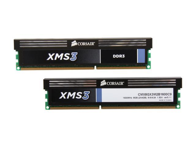 CORSAIR XMS3 8GB (2 x 4GB) 240-Pin DDR3 SDRAM DDR3 1600 (PC3 12800) Desktop Memory Model CMX8GX3M2B1600C9
