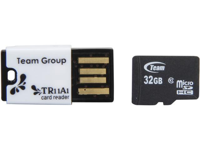 Team 32GB microSDHC Flash Card With Card Reader Model TUSDH32GCL1033