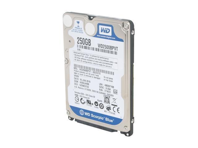 Western Digital Scorpio Blue WD2500BPVT 250GB 5400 RPM 8MB Cache 2.5 inch SATA 3.0Gb/s Internal Notebook Hard Drive -Bare Drive