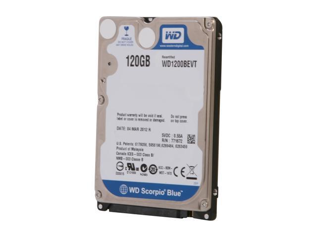 RE-CERTIFIED: Western Digital Scorpio Blue WD1200BEVT 120GB 5400 RPM 8MB Cache 2.5 Inch SATA 3.0Gb/s Notebook Hard Drive -Bare Drive