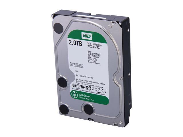 Western Digital WD Green WD20EZRX 2TB IntelliPower 64MB Cache SATA 6.0Gb/s 3.5 inch Internal Hard Drive - Bare Drive