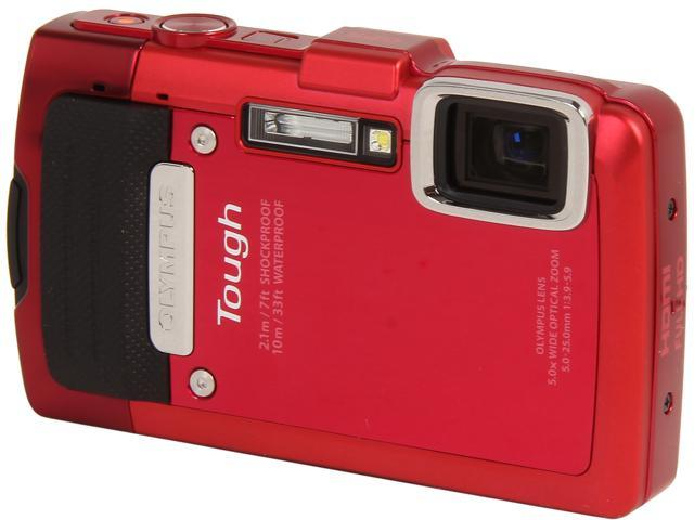 OLYMPUS TG-830 iHS V104130RU000 Red 16 MP 5X Optical Zoom Waterproof Shockproof Wide Angle Digital Camera HDTV Output