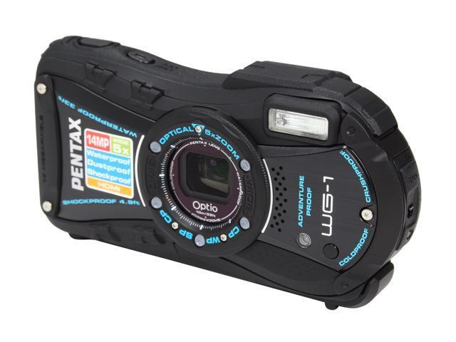 PENTAX OPTIO WG-1 Black 14 MP 5X Optical Zoom Waterproof Shockproof 28mm Wide Angle Digital Camera