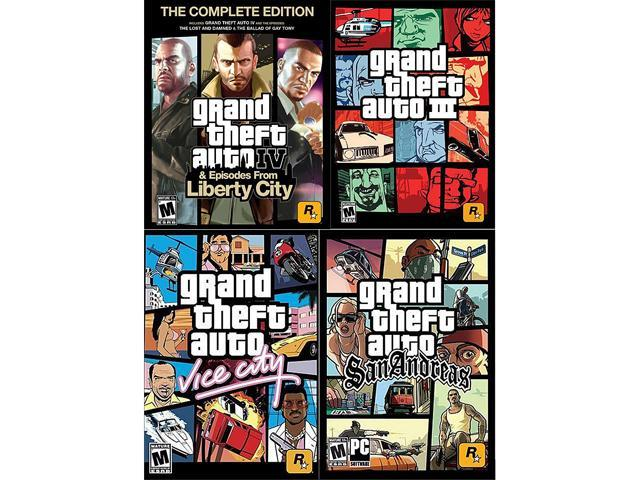 Grand Theft Auto Power Pack (GTA IV Complete, GTA 3, GTA Vice City, GTA San Andreas) for PC [Digital Download]