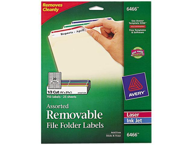 Avery 6466 Removable Filing Labels For Inkjetlaser 23 X 3 716
