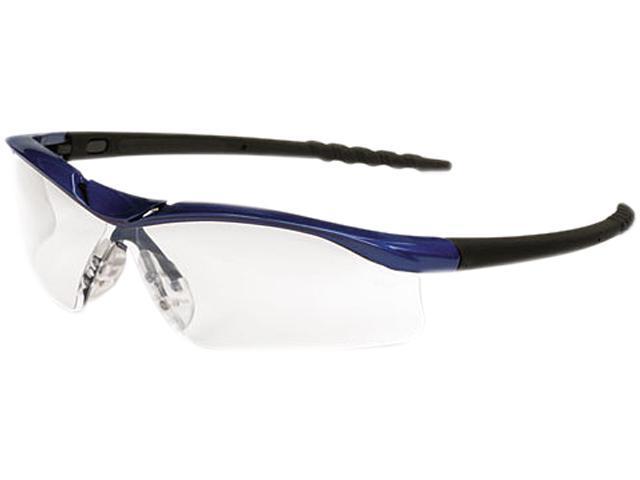 a21aae3b99c9 Crews DL310AF Dallas Wraparound Safety Glasses, Metallic Blue Frame, Clear  AntiFog Lens
