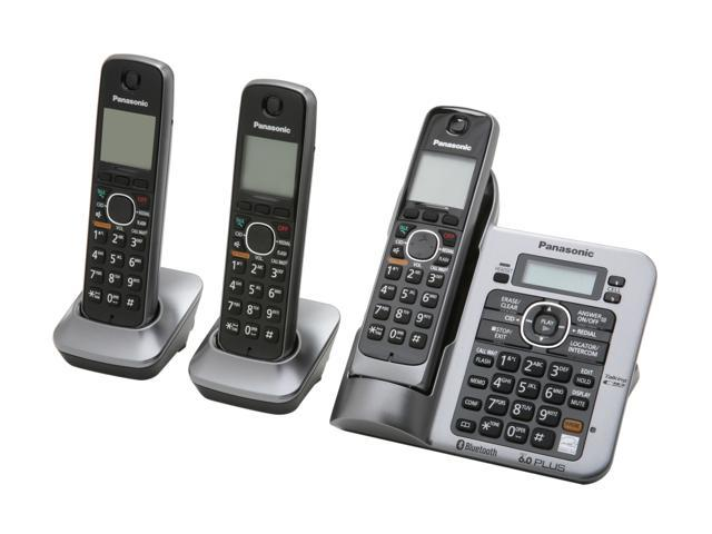 Panasonic KX-TG7643M 1.9 GHz Digital DECT 6.0 Link to Cell via Bluetooth Cordless Phone with Integrated Answering Machine and 3 Handsets