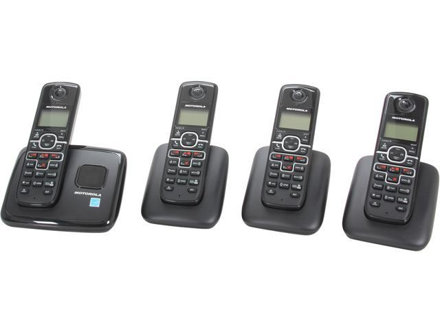 MOTOROLA L704 1.9 GHz Digital DECT 6.0 4X Handsets Cordless Phones Integrated Answering Machine