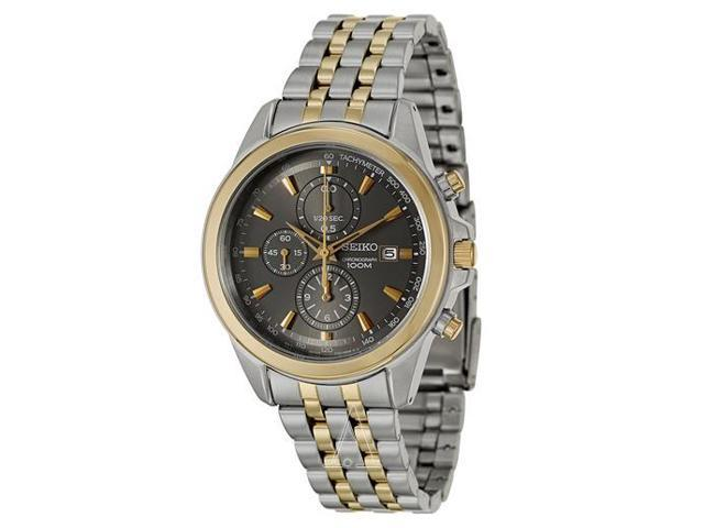 Seiko #SNDF06 Men's Two Tone Stainless Steel Grey Dial Chronograph Sports Watch