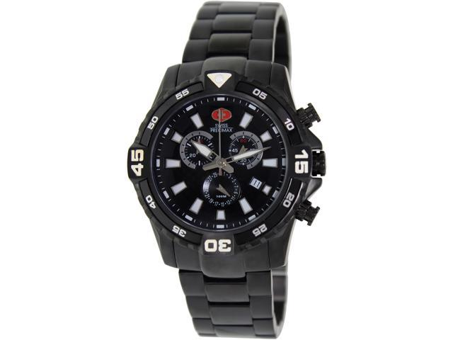 Swiss Precimax Falcon Pro SP13107 Men's Black Dial Stainless Steel Chronograph Watch