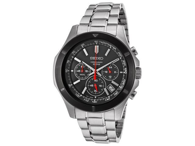 Seiko SSB111 Men's Quartz Chronograph Black Dial Stainless Steel Watch