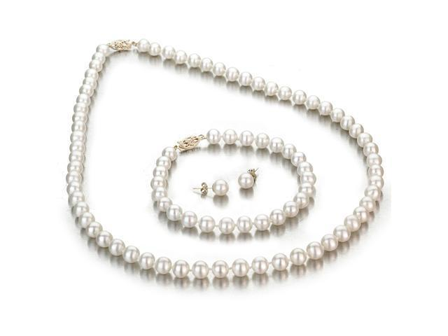 Ladies White Freshwater Cultured Pearl 3 Piece Set Accented by 14K Yellow Gold