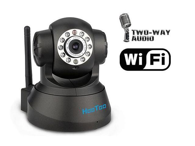 HooToo HT-IP206 Indoor Wired/Wireless Network IP Camera - M-JPEG, CMOS, Pan/Tilt, Two-way Audio, 640x480, Black