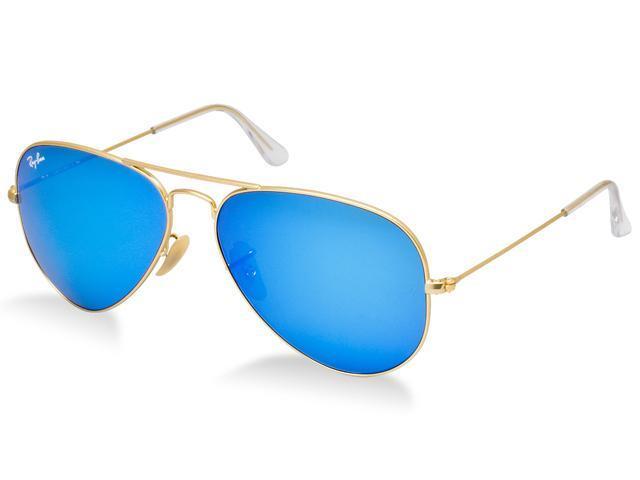 Ray Ban RB3025 Aviator Flash Metal Sunglasses - Gold Frame/Blue ...