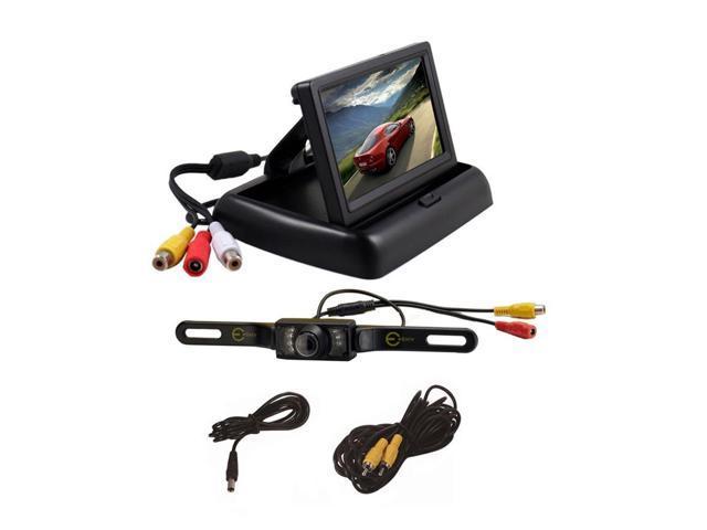 "Esky 4.3"" Foldable TFT LCD Monitor Backup Reverse Monitor Night Vision + Car Rear View Camera System"