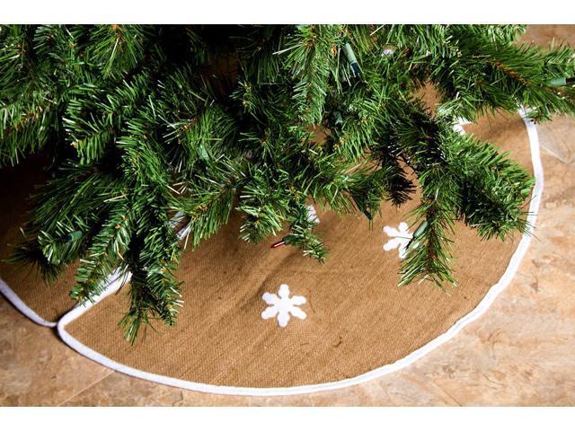 Barnyard Rustic Burlap Christmas Tree Skirt 36 Skirts W Snowflakes