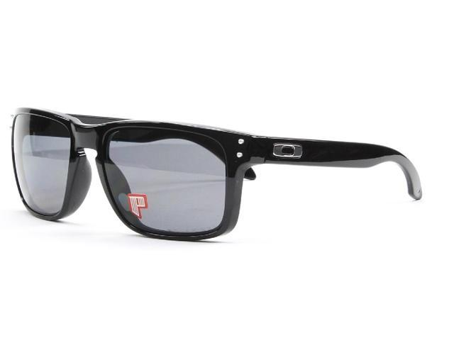 1cb3a0f3f0 Oakley OO9102-02 Holbrook Sunglasses - Polished Black Frame   Grey Polarized  Lens