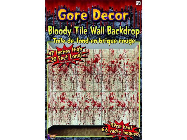 20 x 4 bloody tile wall backdrop halloween party decoration