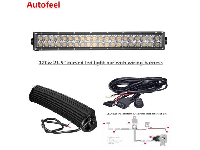 Stupendous Autofeel Curved 21 5 120W Led Light Bar With Wiring Harness Fog Wiring Cloud Tobiqorsaluggs Outletorg