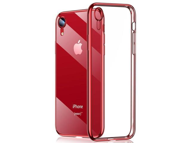 5889b01fb00 RANVOO Clear iPhone XR Case, Soft Silicone Cover with Red Electroplated  Bumper Thin Slim Fit Case for iPhone XR 6.1 Inch (2018), Crystal Red - ...