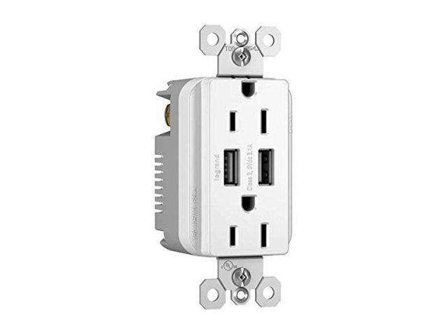 C2G Radiant Dual USB Charger with Dual 15A Duplex Outlet and Decorator Wall  Plate White (12827) - Newegg com