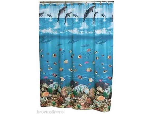 SEASCAPE BLUE FABRIC SHOWER CURTAIN DOLPHINS FISH OCEAN BEACH SEASHELLS Measures