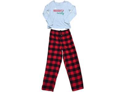 Womens Gray I Do Naughty Nice Pajamas Red   Black Plaid Tartan Flannel Sleep  Set 413af9605