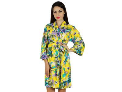 5b552f4ab6 Bimba Women Short Cotton Robe Getting Ready Floral Print Coverup Bridesmaid  Gift Yellow