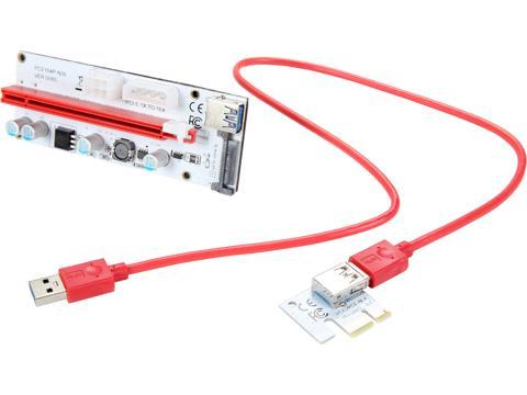 COBOC RISER-1X216X-3IN1 USB3 0 PCI-E PCI Express 1X to 16X Riser Cable Card  Adapter w/ SATA 15pin,Molex 4pin and PCIe 6pin Power Slot,60CM USB 3 0