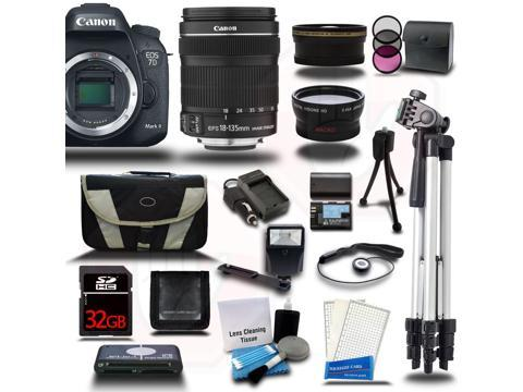 Canon EOS 7D Mark II DSLR Camera with EF-S 18-135mm IS STM 3 Lens Bundle Kit + 32GB + Reader + Extra Battery & Charger + Case + Filters + Adapters + More