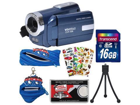 Vivitar DVR-508 HD Digital Video Camera Camcorder (Blue) with 16GB Card + Monstar Case & Pouch + Puffy Stickers + Tripod + Kit