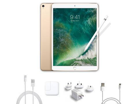 2017 New iPad Pro Bundle (4 Items): Apple 10.5 inch iPad Pro with Wi-Fi 256 GB Gold, Apple Pencil, Mytrix USB Apple Lightning Cable, and All-in-One USB Travel Charger