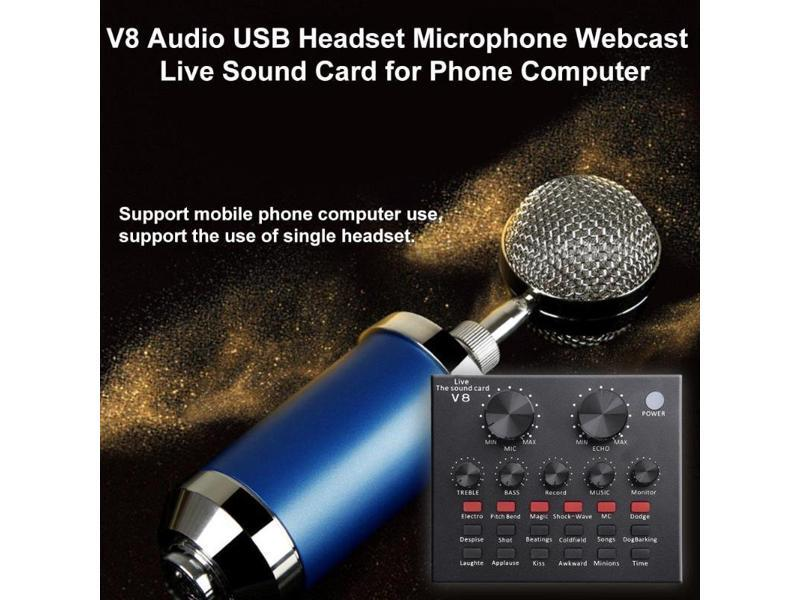 ALLOYSEED V8 Audio External USB Headset Microphone K song Live Broadcast  Sound Card for Mobile Phone Computer PC