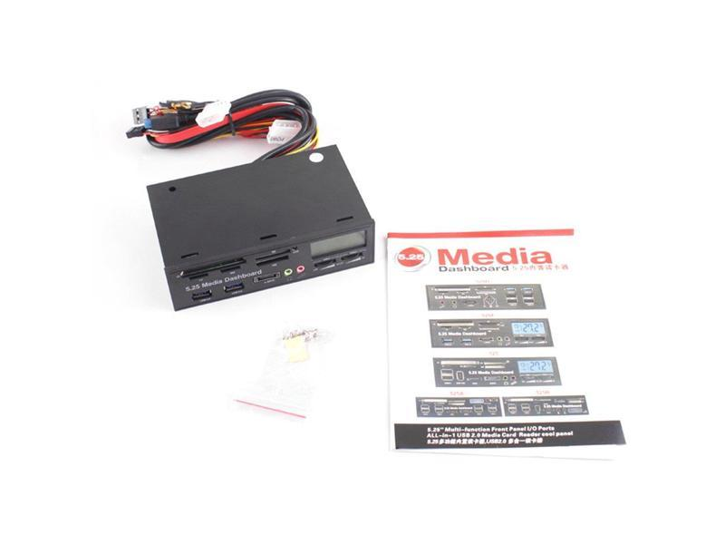 Portable All In 1 Media Dashboard 5 25 Inch CD ROM Multifunctional Panel  525F20 Card Reader USB Flash Memory Card Reader